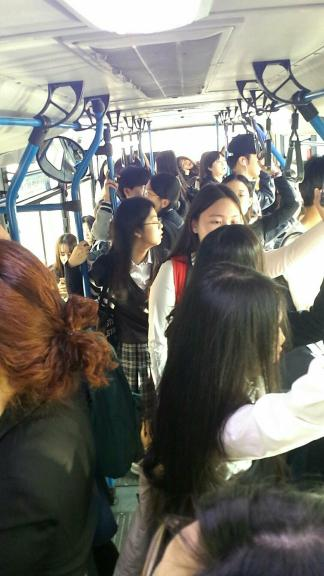 All of my students and I riding the same bus and pushing out the regular citizenry.